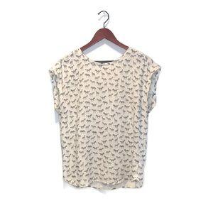 H&M cap sleeve blouse with zebra print, 8/ Medium